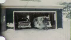 Man Warming Up Car Winter Suburban Snow 1960s Vintage Film Home Movie 1986 Stock Footage