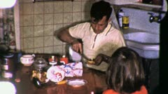 Man Makes Sandwich Family Dinner USA Kitchen 1960s Vintage Film Home Movie 1987 Stock Footage