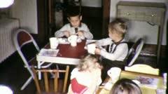 Children Eating Kids Eat Cake Kitchen Together 1960 Vintage Film Home Movie 1992 Stock Footage