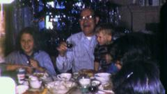 BEER Drinking Family Reunion Christmas Dinner 1960s Vintage Home Movie 1995 Stock Footage