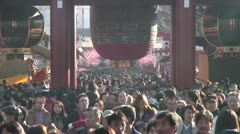 Stock Video Footage of Asakusa Temple Crowd
