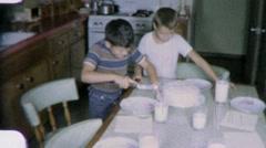 Happy Little Boys Cutting Birthday Cake 1960s Vintage Film Home Movie 2002 Stock Footage