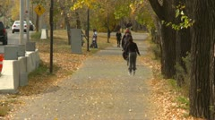 People rollerblading, running and walking on path late fall Stock Footage