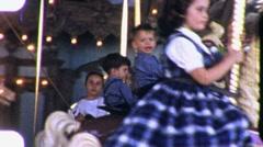 Children Little Girl Rides Merry Go Round 1960s Vintage Film Home Movie 2009 Stock Footage