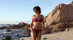Bikini model dancing mexico wild beach Stock Footage