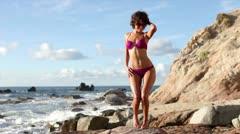 bikini model dancing mexico wild beach - stock footage