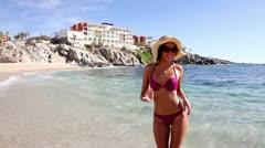 Bikini model amazing mexico wild beach Stock Footage