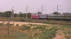 The train goes on railway Stock Footage