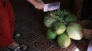 Cutting coconut Stock Footage