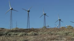 Back of Green Energy wind mills Stock Footage
