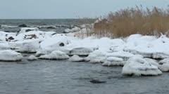 Snowy shore - stock footage