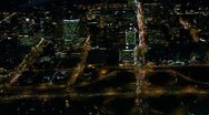 Stock Video Footage of Aerial View of Bright City Lights at Night