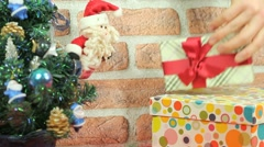 Santa Clause and presents Stock Footage