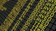 Close-Up of an international airport board panel with flights Stock Footage