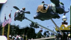 Disneyland Dumbo Flying ELEPHANT Ride 1960s Vintage Film Home Movie 2017 Stock Footage