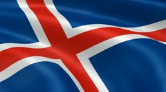 Icelander flag in the wind Stock Footage