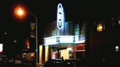 Small Art House Neighborhood Movie Theater- Night  Stock Footage