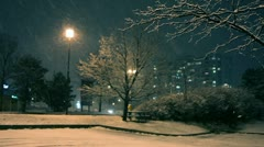 Winter night in town Stock Footage