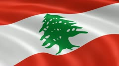 Lebanese flag in the wind Stock Footage