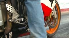 Motorsports, drag race streetbike race near wreck Stock Footage