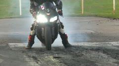 Motorsports, drag race streetbike burnout Stock Footage