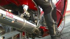Motorsports, drag race streetbike launch Stock Footage