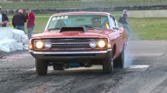 Motorsports, drag race Ford Torino burnout Stock Footage
