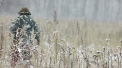 Stock footage hunter in the woods in winter Stock Footage