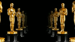 Row of statues Oscar - stock footage