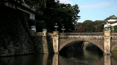 Japan, Tokyo, Imperial Palace, Nijubashi bridge Stock Footage