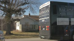 Stock Footage - Michele Bachmann - Campaign Bus in small Iowa Town Stock Footage