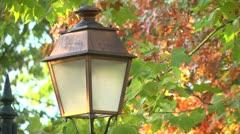 Lamp in a public garden Stock Footage