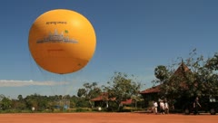 Yellow hot balloon in Angkor Wat Stock Footage