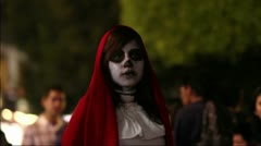 Girl with mask in day of the dead Stock Footage