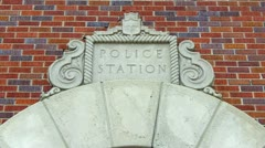 Old Fashioned Police Station Sign Stock Footage
