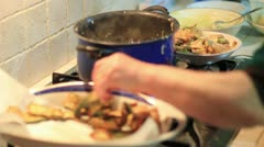 Expert cook fry bread and vegetables - Fried Stock Footage