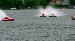 Hydroplane flips during final lap of race Stock Footage