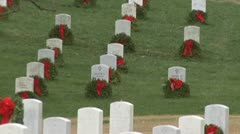 Christmas wreaths at Arlington National Cemetery Stock Footage