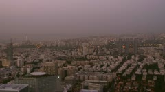 Tel Aviv dawn view pan 1 Stock Footage