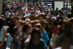Crowded Sidewalk Stock Footage