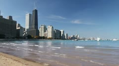 Chicago Skyline and Beach Stock Footage