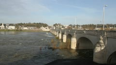 Pont Wilson over River Loire Tours France Stock Footage