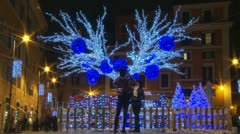 Timelapse Christmas lights & people zoom out Stock Footage