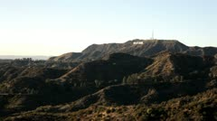 Hollywood sign on mountain in distance Stock Footage