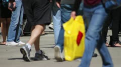 Feet on Crowded Pavement - stock footage