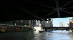 Floating Down Chicago River Stock Footage