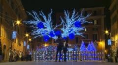 Timelapse Christmas lights & people - stock footage