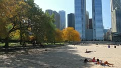 Pan of Chicago Beach - stock footage