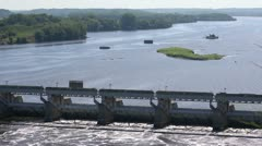 River Lock and Dam (Two Shots) Stock Footage