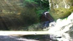 Sunlight on Waterfall Stock Footage
